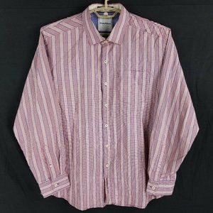 Tommy Bahama Red & Blue Striped Button Front Shirt Mens XL
